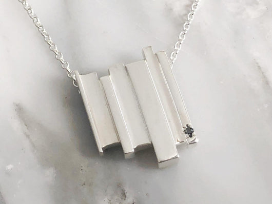 Sterling Silver Formations Diamond Necklace | Silver Sculptor