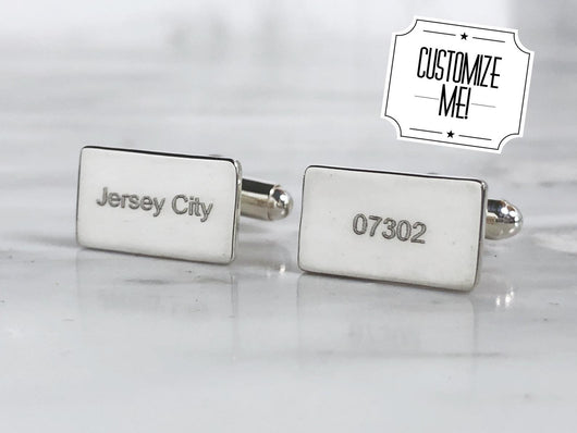 City and Zip Code Sterling Silver Cufflinks | Silver Sculptor