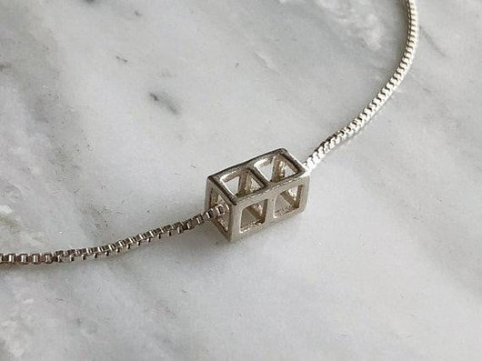 Stacking Cube Necklace | Silver Sculptor