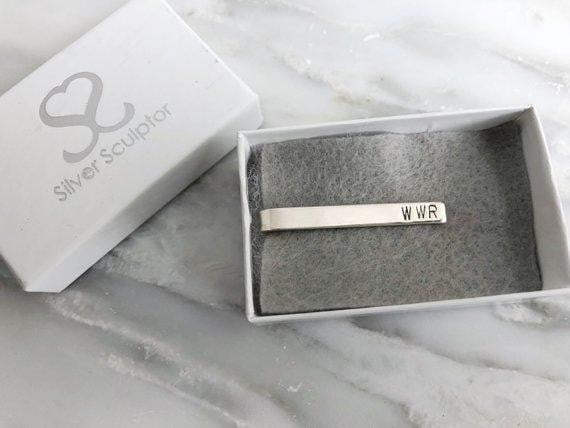 Personalized Monogrammed Sterling Silver Tie Bar | Silver Sculptor