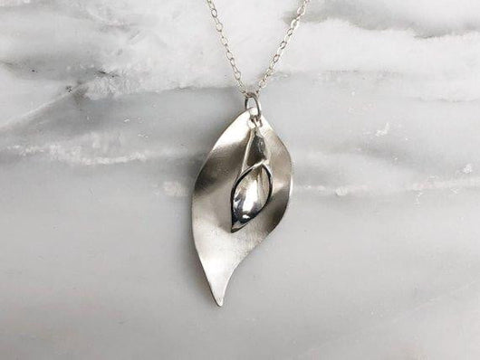 Calla Lily and Curled Leaf Necklace | Silver Sculptor