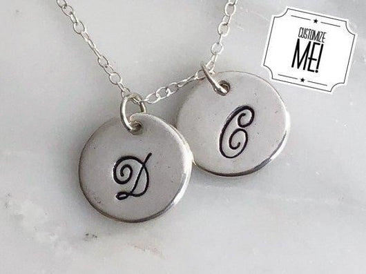 Personalized Two Initial Charm Necklace in Fine Silver | Silver Sculptor