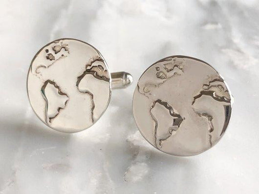 Sterling Silver World Cuff Links | Silver Sculptor