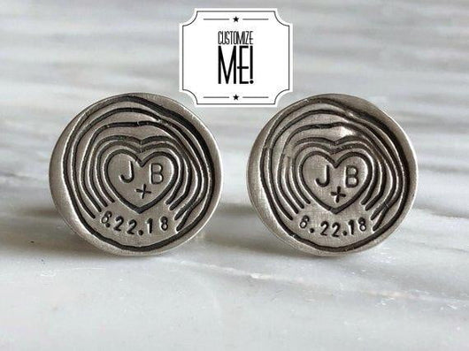 Personalized Woodland Wedding Date and Initials Cufflinks | Silver Sculptor