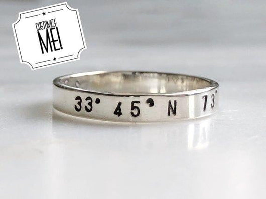 Personalized Coordinate Stacking Ring | Silver Sculptor
