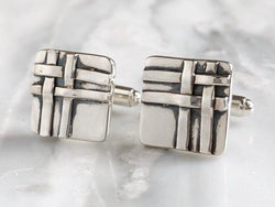 Scottish Tartan Plaid Cufflinks | Silver Sculptor