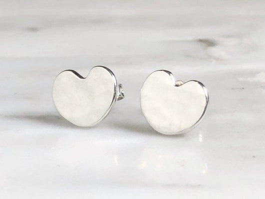 Delicate Sterling Silver Hammered Heart Stud Earrings | Silver Sculptor