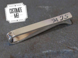 Personalized Monogrammed Slide Tie Bar | Silver Sculptor