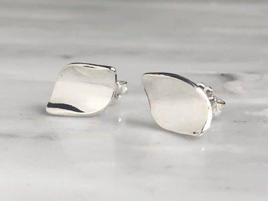Sterling Silver Curled Leaf Stud Earrings | Silver Sculptor