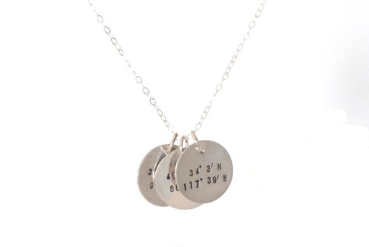 Longitude and Latitude Necklace with Three Charms | Silver Sculptor