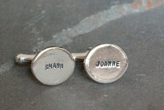 Personalized Oval Name Cufflinks in Sterling Silver | Silver Sculptor