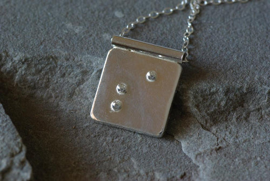 Personalized Initial Braille Necklace | Silver Sculptor