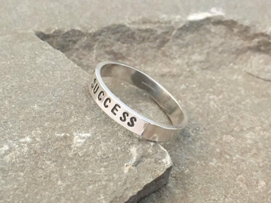 Success Affirmation Ring | Silver Sculptor