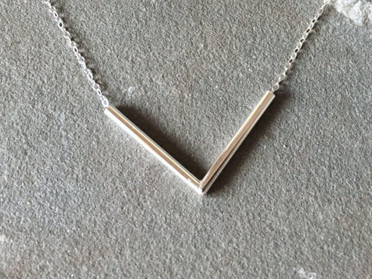 Sterling Silver Chevron Tube Necklace | Silver Sculptor