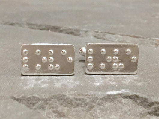 LOVE in Braille Cufflinks | Silver Sculptor