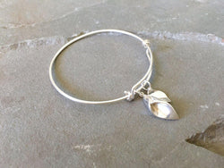 Calla Lily and Leaf Adjustable Bangle | Silver Sculptor
