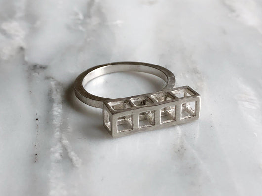 Sterling Silver 4 Cube Stacking Ring | Silver Sculptor