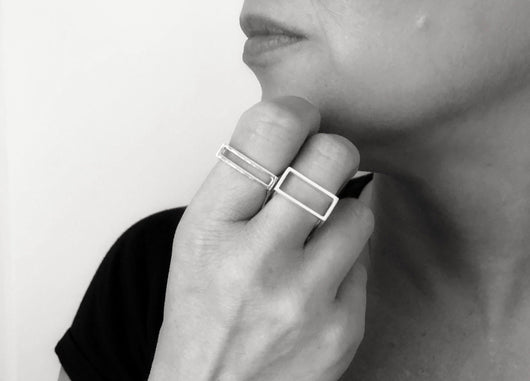 Modern Cube Stacking Ring | Silver Sculptor