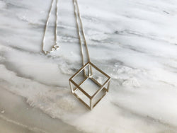 3D Cube Necklace | Silver Sculptor