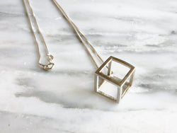 Sterling Silver Geometric Cube Necklace | Silver Sculptor