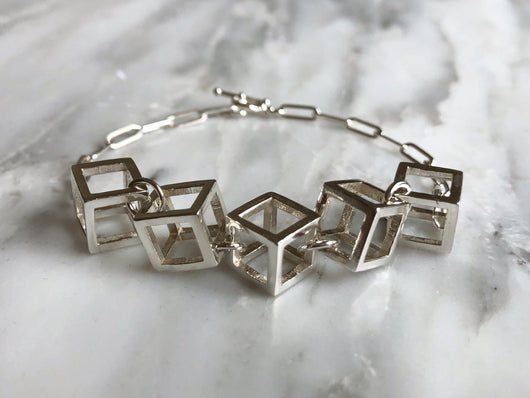 Contemporary Cube Statement Bracelet | Silver Sculptor