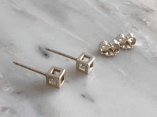 Tiny Sterling Silver Cube Earrings | Silver Sculptor