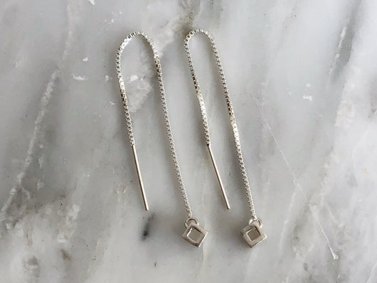 Sterling Silver Cube Threader Earrings | Silver Sculptor