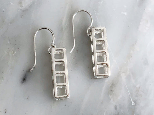 Sterling Silver 4 Cube Dangly Earring | Silver Sculptor
