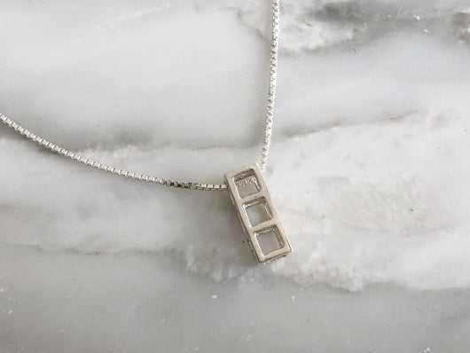 Sterling Silver Three Cube Necklace | Silver Sculptor