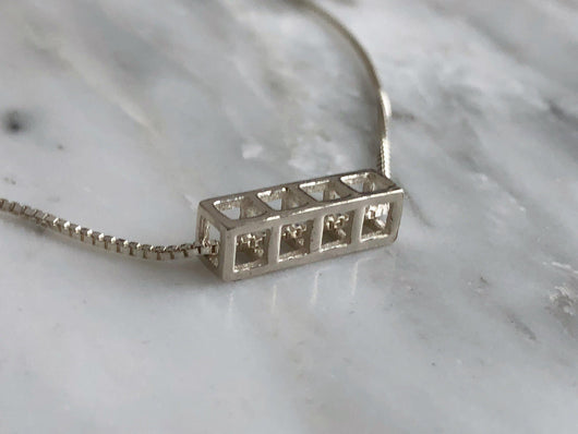 Four Stacking Cube Necklace | Silver Sculptor