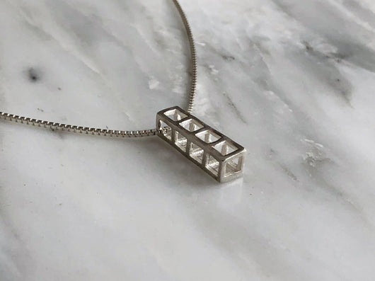 Four Cube Stacking Cube Necklace | Silver Sculptor