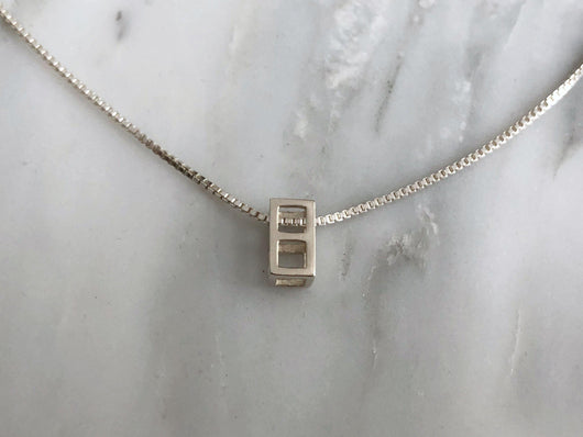 Two Stacking Cube Necklace | Silver Sculptor