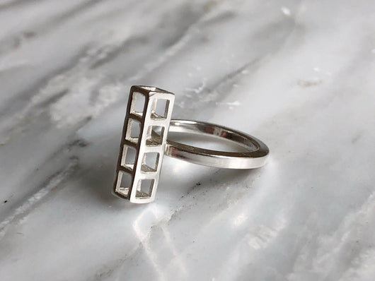 4 Cube Stacking Ring | Silver Sculptor