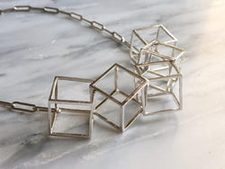 Cubed Statement Necklace | Silver Sculptor