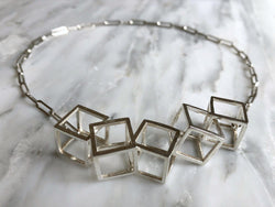 Contemporary Cube Statement Necklace | Silver Sculptor