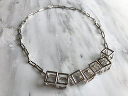 Cube Statement Necklace | Silver Sculptor