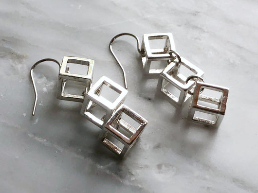 Sterling Silver Cube Dangly Earrings | Silver Sculptor