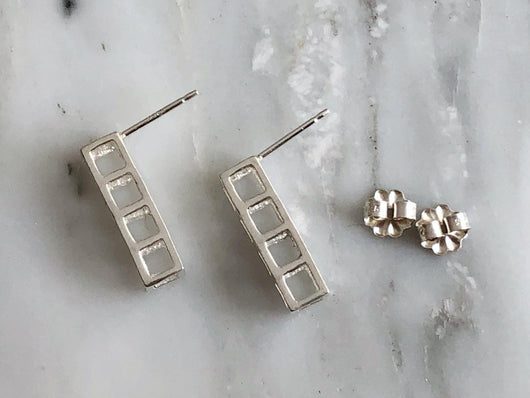 Sterling Silver 4 Cube Stud Earrings | Silver Sculptor