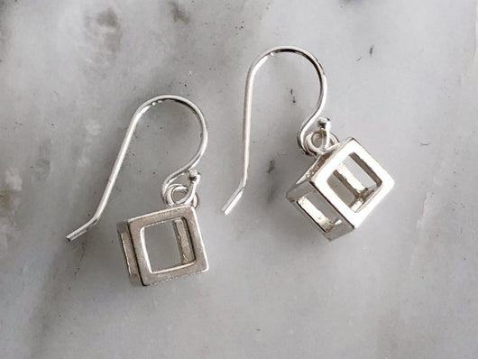 Sterling Silver Minimalist Cube Dangly Earrings | Silver Sculptor