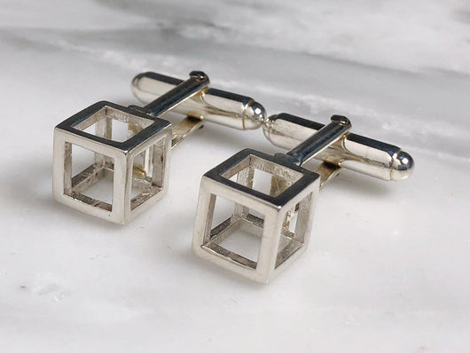 Sterling Silver Cube Cufflinks | Silver Sculptor
