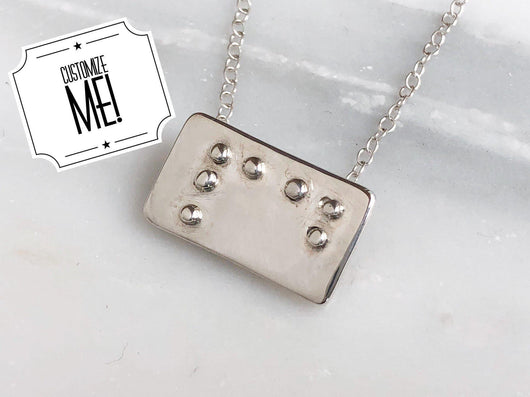 Monogrammed Initial Braille Necklace | Silver Sculptor