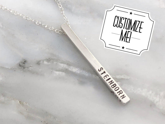 Personalized Name and Date Necklace in Sterling Silver | Silver Sculptor
