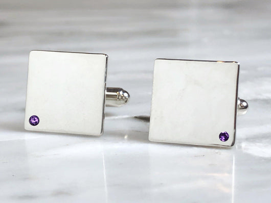 Sterling Silver Amethyst Flush Set Cufflinks | Silver Sculptor