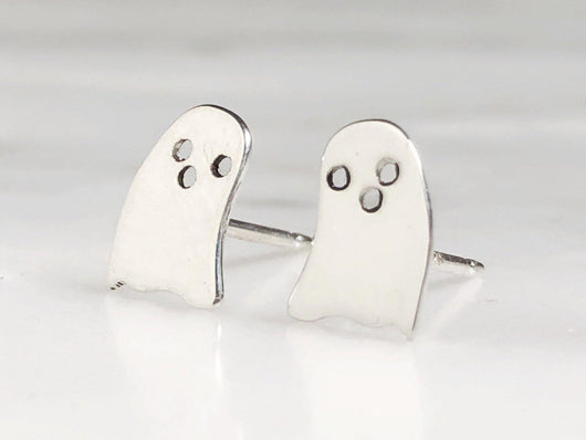 Sterling Silver Ghost Earring Studs | Silver Sculptor