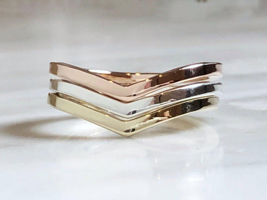 Trio of Yellow Gold, Rose Gold and Silver Chevron Rings | Silver Sculptor
