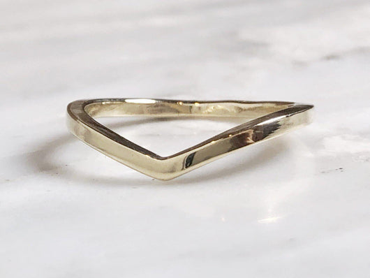 14k Yellow Gold Chevron Ring | Silver Sculptor