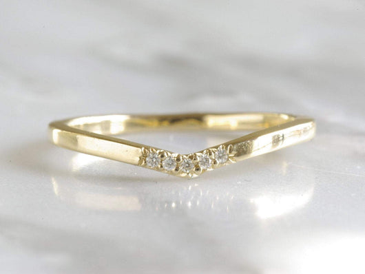 14k Yellow Gold V Ring With Moissanites | Silver Sculptor