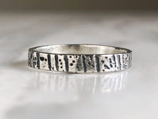 Rustic Sterling Silver Tree Bark Ring | Silver Sculptor