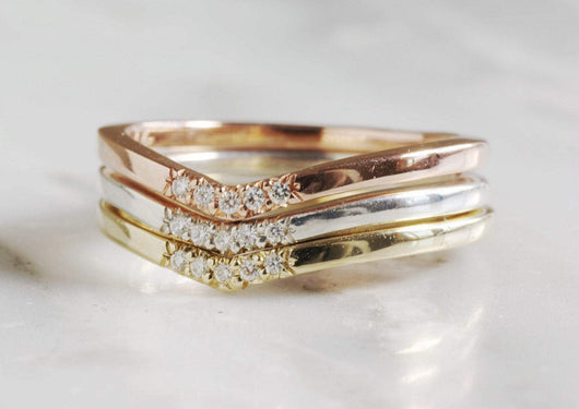 14k Gold Trio of Chevron Rings with Moissanites | Silver Sculptor
