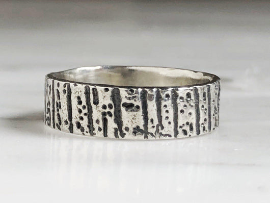 Sterling Silver Tree Bark Ring | Silver Sculptor